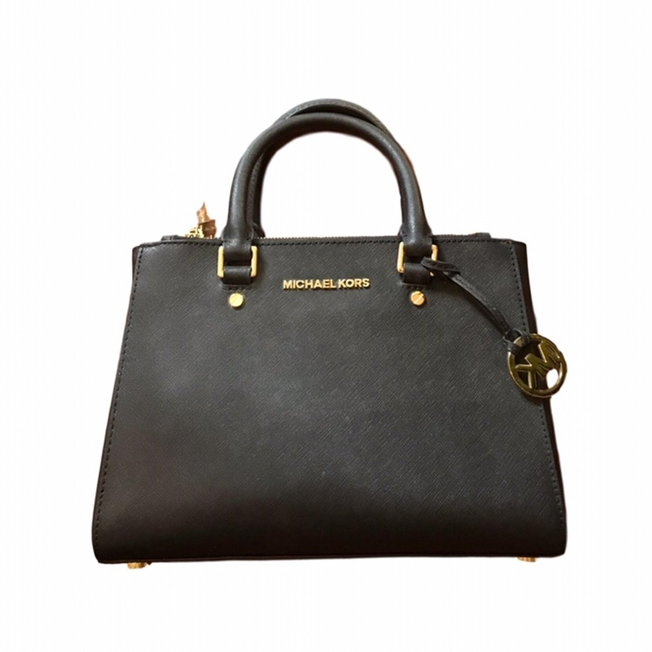 162ee9ea539fac @jillianblair. 2 months ago. Mississauga, Canada. **PRICE NOT NEGOTIABLE**  basic black michael kors handbag with gold accents