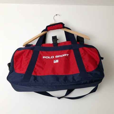 b9a564ceee9d Polo Sport duffel hold-all holdall bag in red and blue. than - Depop