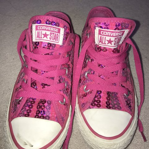 6ac250fb994f Pink sequins converse size uk 3! Great condition, hardly for - Depop