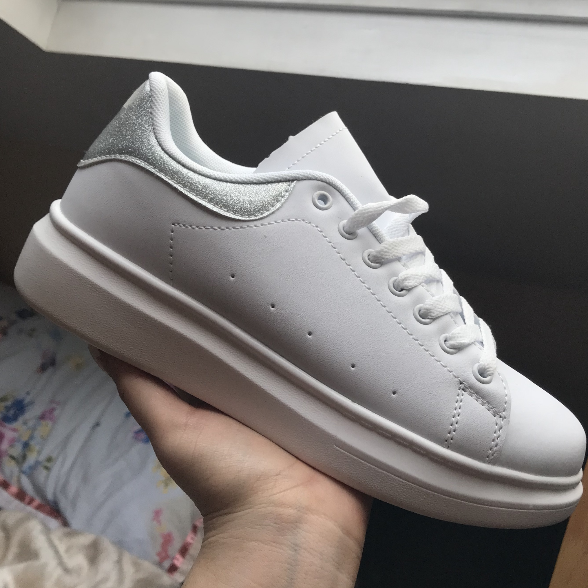 2872e5eff58 White Fake Alexander Mcqueen-style trainers in UK... - Depop