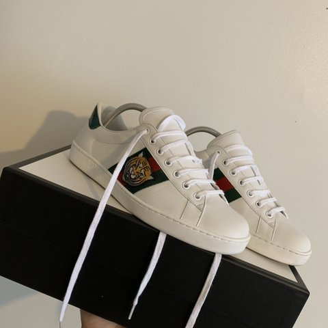 8048af44e Gucci ace tiger sneakers. Size uk 8 but fit as 9. Immaculate - Depop