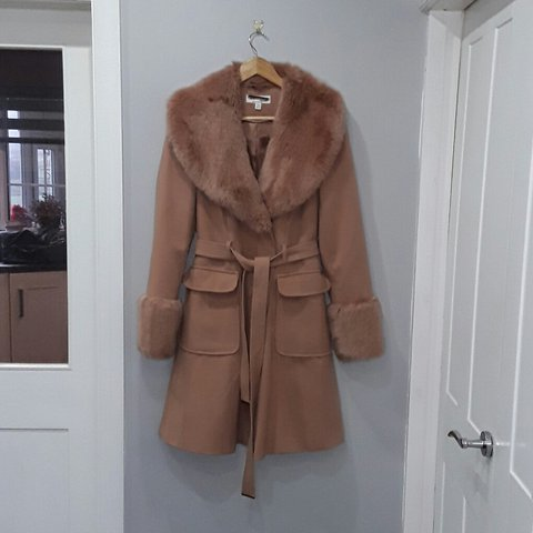 a012b7779759 @katieleach56. 2 years ago. Lancashire, United Kingdom. Miss Selfridge Faux  Fur Collar And Cuff Belted Coat