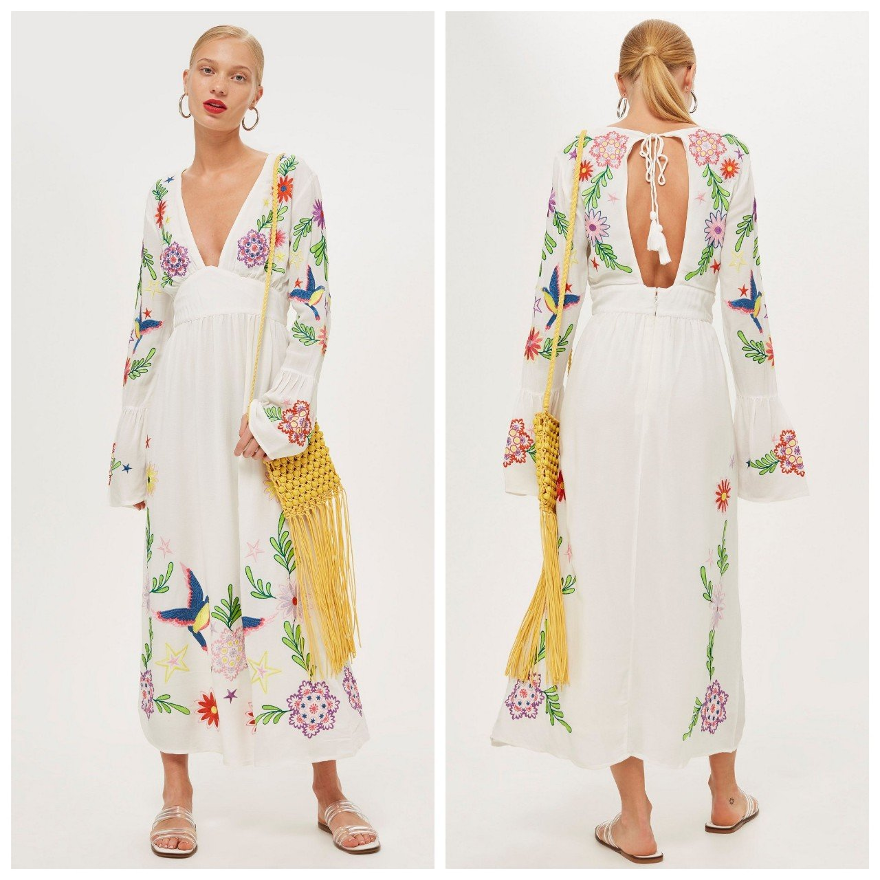 Topshop Plunge Embroidered Midi Dress Size 802ac91ca