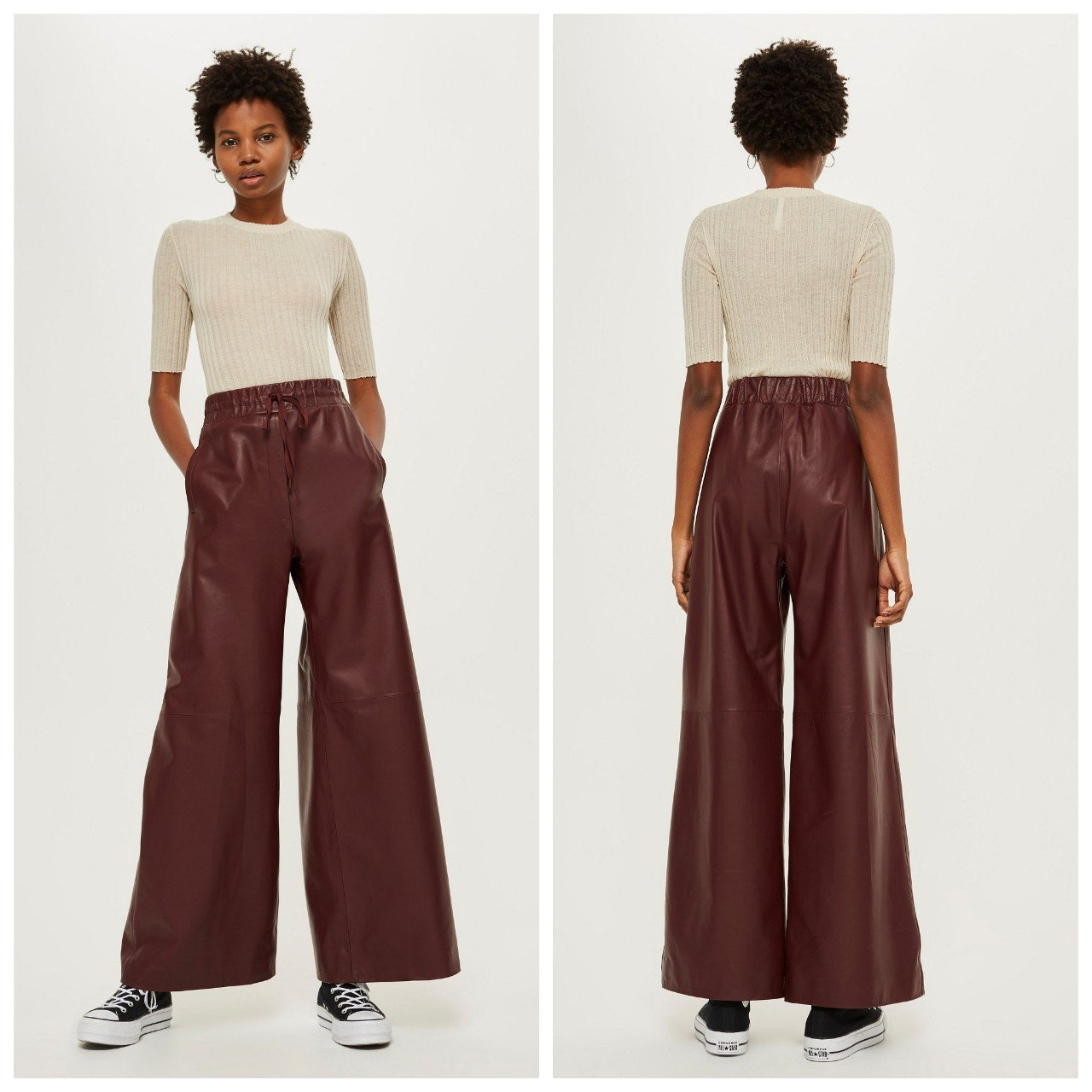 Topshop Leather Wide Leg Trousers 1767a037f