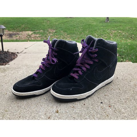 ... where can i buy womens nike dunk sky hi wedges in black with striped  purple depop 85b450c47