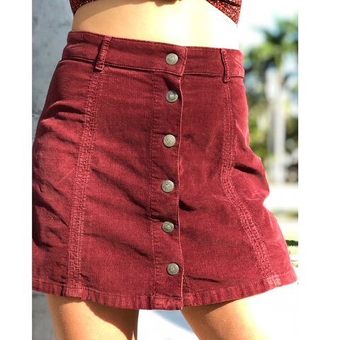 2d93a77d4 @korina_. 7 months ago. Miami, United States. Maroon Corduroy American  Eagle Skirt High Waisted Button Down
