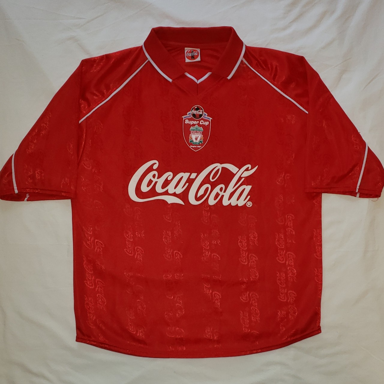 best cheap 81815 c921f Coca Cola x Liverpool Soccer Jersey No size tag but... - Depop