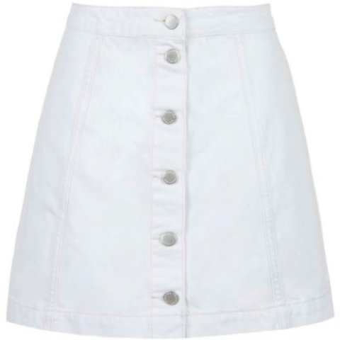 dd7f10865f @roannetoosy. 2 years ago. Oxshott, United Kingdom. Topshop white denim button  up skirt size 4 petite ...