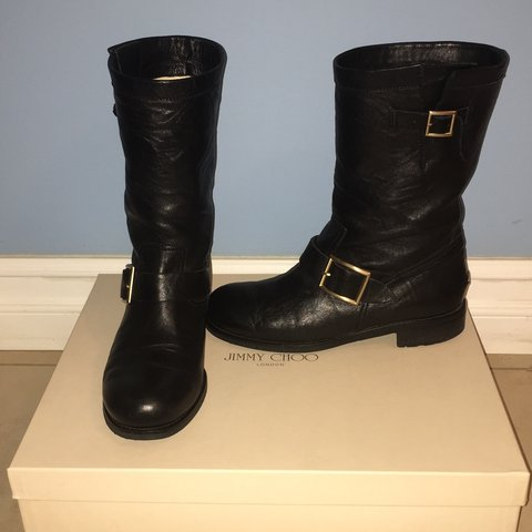 f41f118f382 Jimmy Choo black leather biker boots, size 38. 1