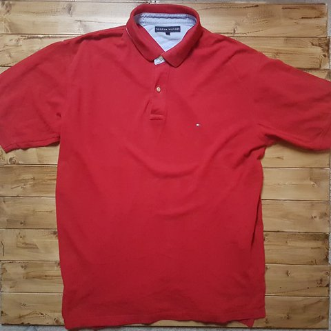 5f8a4224e78096 Mens XX-Large Tommy Hilfiger polo shirt -good red  tommy - Depop