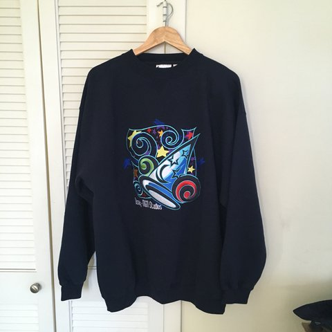 vintage vtg navy blue wizard mickey mouse disney crewneck sweater