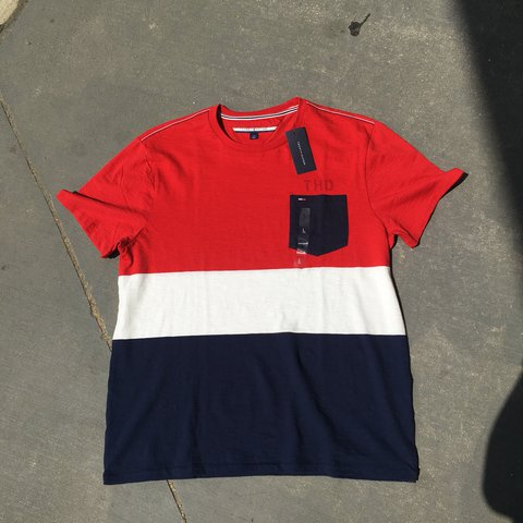 994059f4b @aestheticandfriends. 11 months ago. Bethesda, United States. Color block  Tommy Hilfiger pocket tee. Red white and blue ...