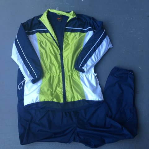 9ee360ceb Lime green navy blue and white color block Nike Windbreaker - Depop