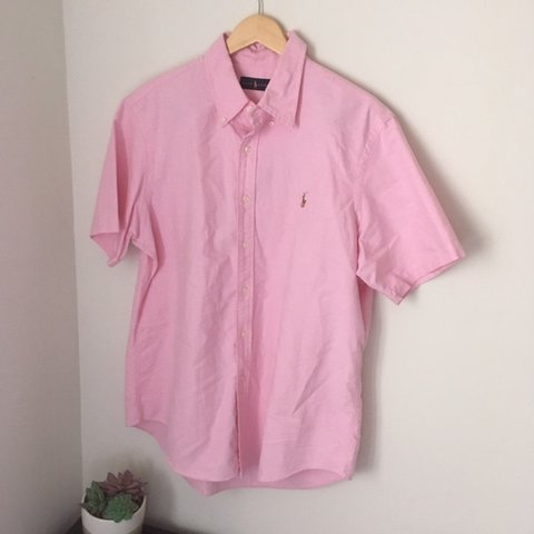 dbb0f39d @aestheticandfriends. 8 days ago. Rockville, United States. Pink polo Ralph  Lauren Oxford Shirt Sleeve Button Up Shirt
