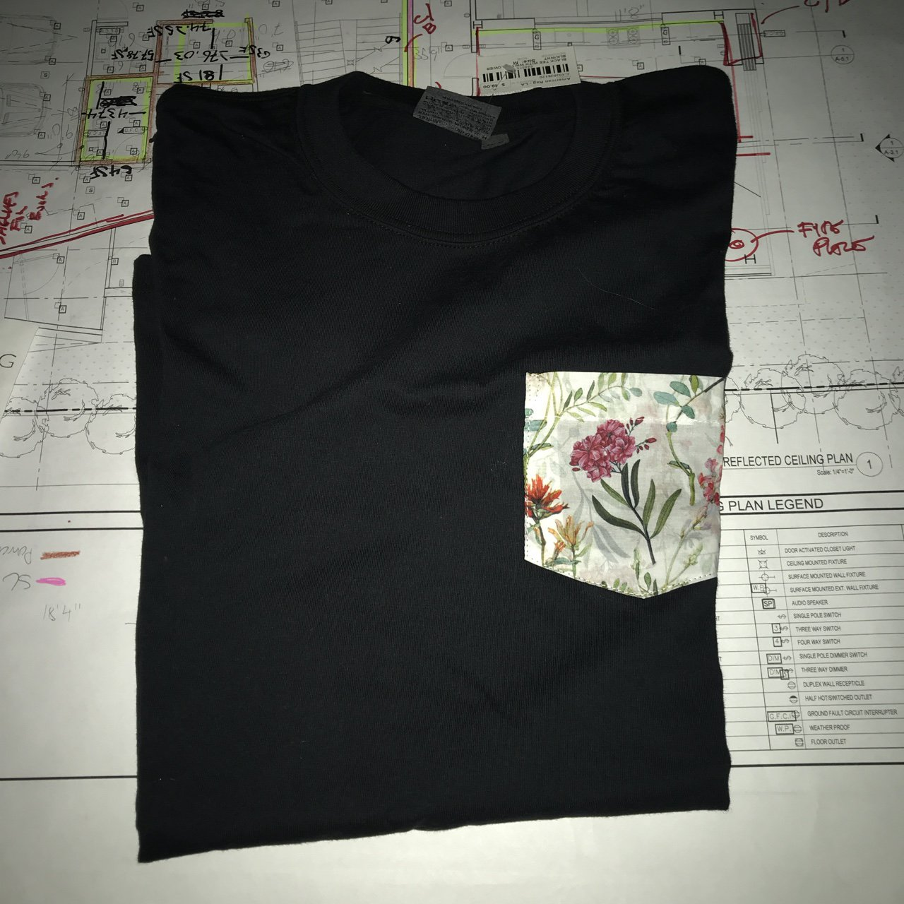 Black Tee With White Flower Blk Wht Purchased At American Depop Symbol For Four Way Switch