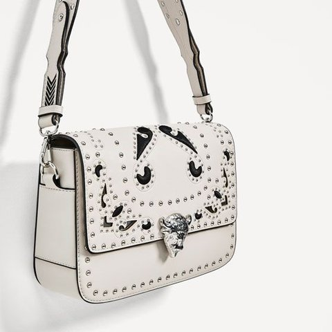 43c8525cb7 @meganrazey. 10 months ago. Swindon, United Kingdom. Zara white/creamy  studded clutch/shoulder bag. Absolutely ...