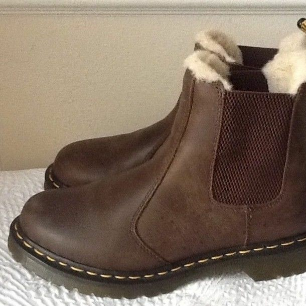 Dr. Martens Women\u0027s Fur,Lined LEONORE Brown Leather