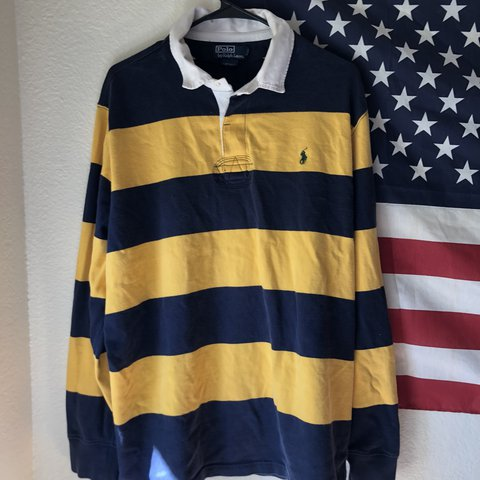 5b389b712ec @insectvsgod. last year. Murrieta, United States. Ralph Lauren Polo rugby  sweater. Blue and yellow striped rugby sweater with 3 ...