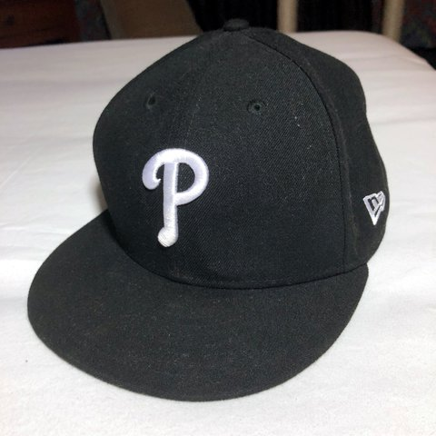"92d3ae8b55ad3d @megmctear. last year. Middletown, United States. PHILLIES New Era Black  59FIFTY Fitted Hat. Size 7 5/8""."