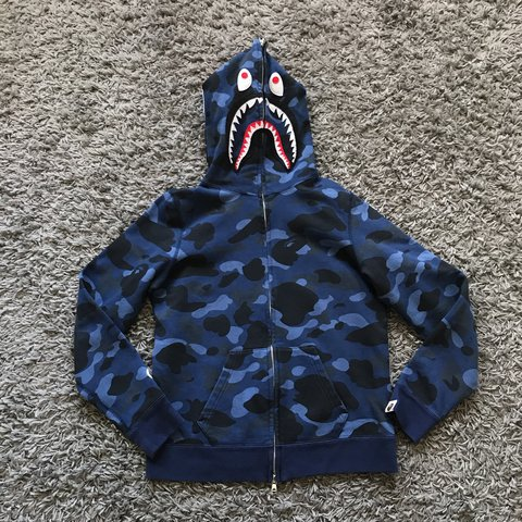 b2ac6229f8d3 BAPE BATHING APE BLUE CAMO ARMY SHARK HEAD HOODY SWEATER XS - Depop
