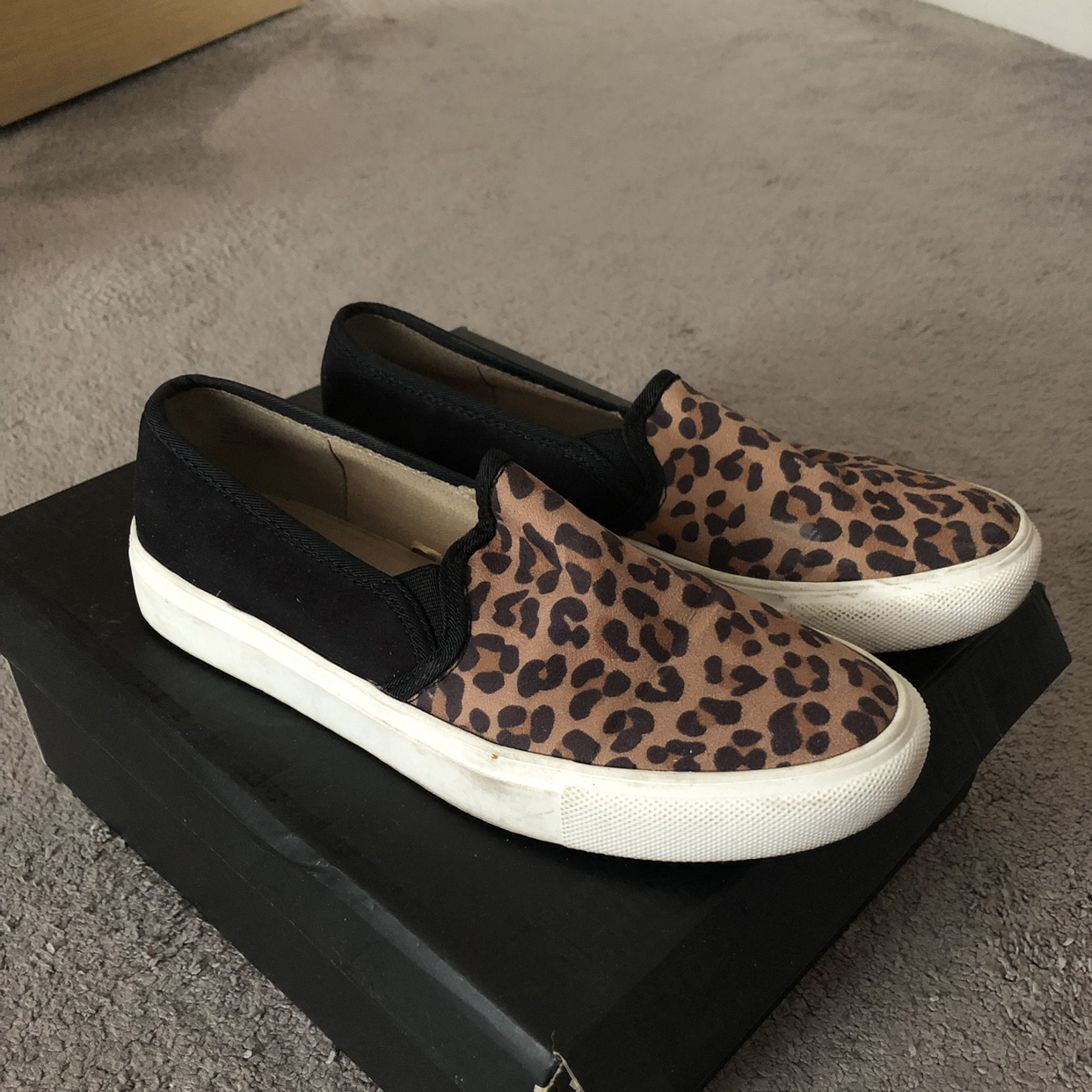 Leopard print slip on trainers Only