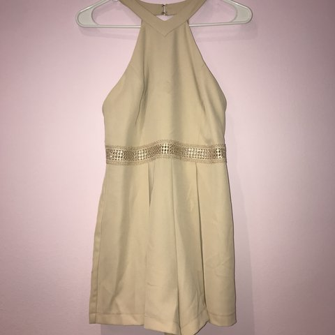 193eda9f99c Super cute nude forever 21 high neck romper with lace waist - Depop