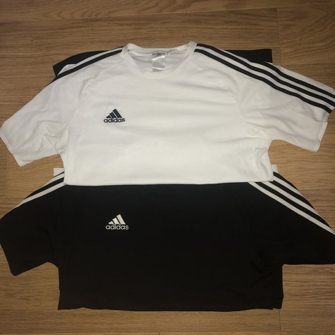 b9e50537 Adidas sport tees Black and white for sale Both size signs - Depop