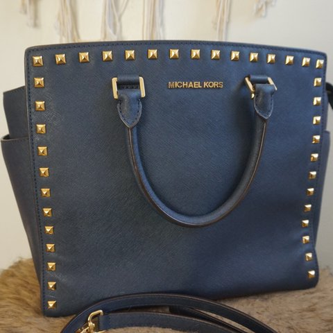 28858b2798b5 Large Selma studded Michael kors bag🔹 Sexy navy blue w  and - Depop
