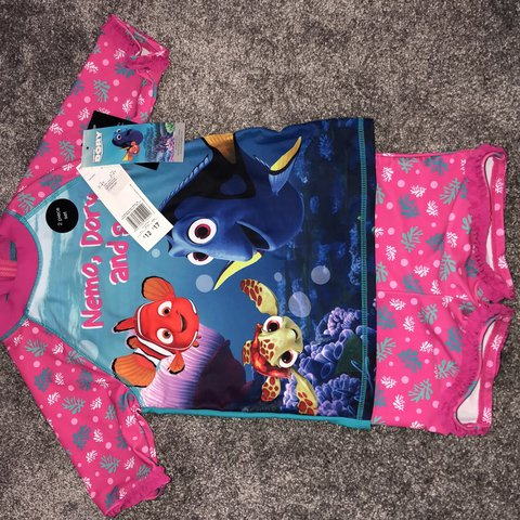Memo Dory And Squirt 2 Piece Girls Swimming Costume Size Depop
