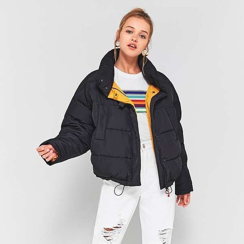 e9d160bf0a4f Item  black pillow puffer jacket with yellow contrast lining - Depop