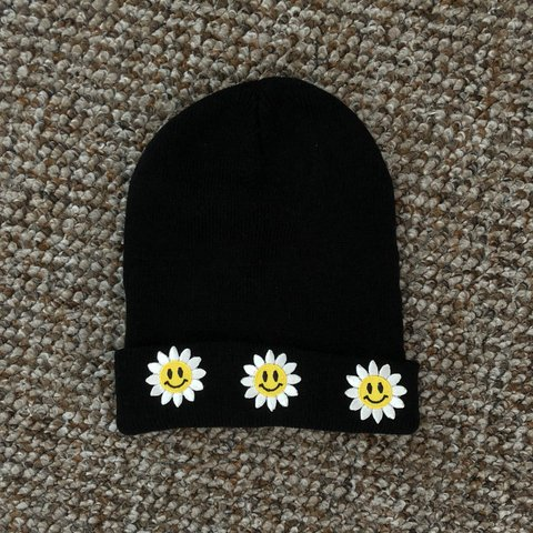 96aaaa09 Iron on patch sunflower smiley black beanie Bought from a - Depop