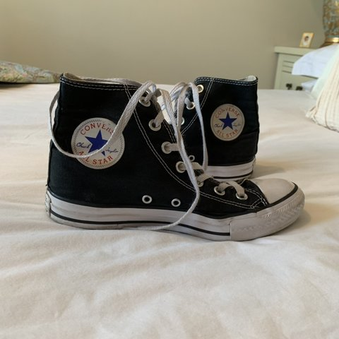 Black Converse All Stars. High tops. Size 5. General wear - Depop 784bb2122