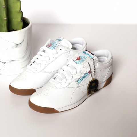 ad7bff12d41 SOLD OUT EVERYWHERE Reebok Classic Women s White   Blue Lo . - Depop