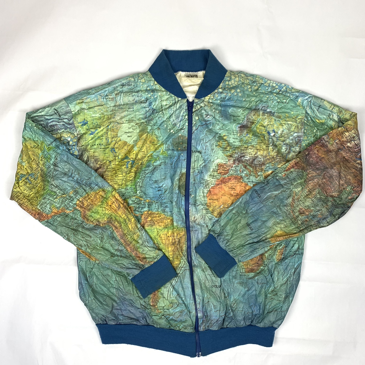 True Vtg 1980s THE WORLD Map Jacket DuPont By Tyvek ...