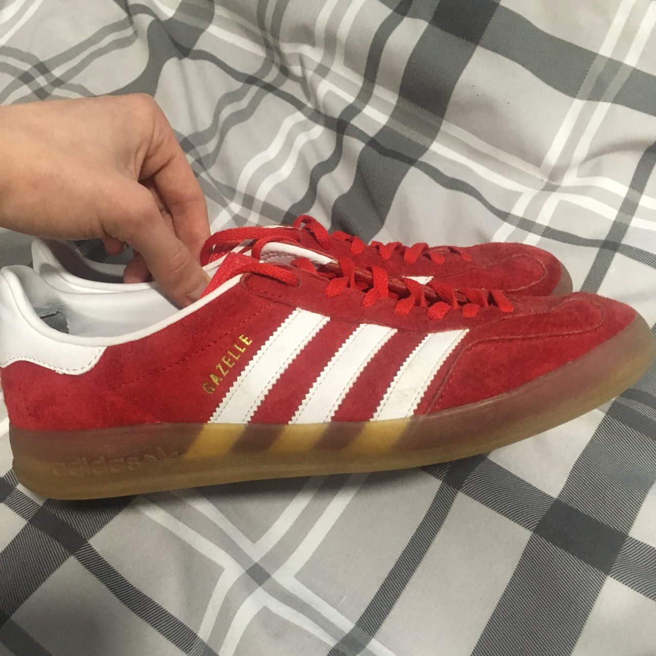 ea3b8e9ab52 Adidas gazelle indoor Red Size 8 Good condition Selling as - Depop