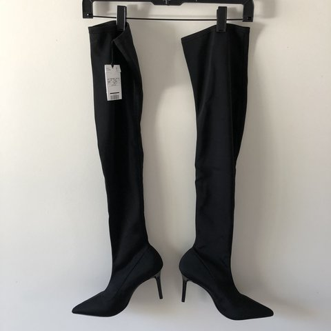 aebdcbd48d19 Over the knee black sock boots by Mango