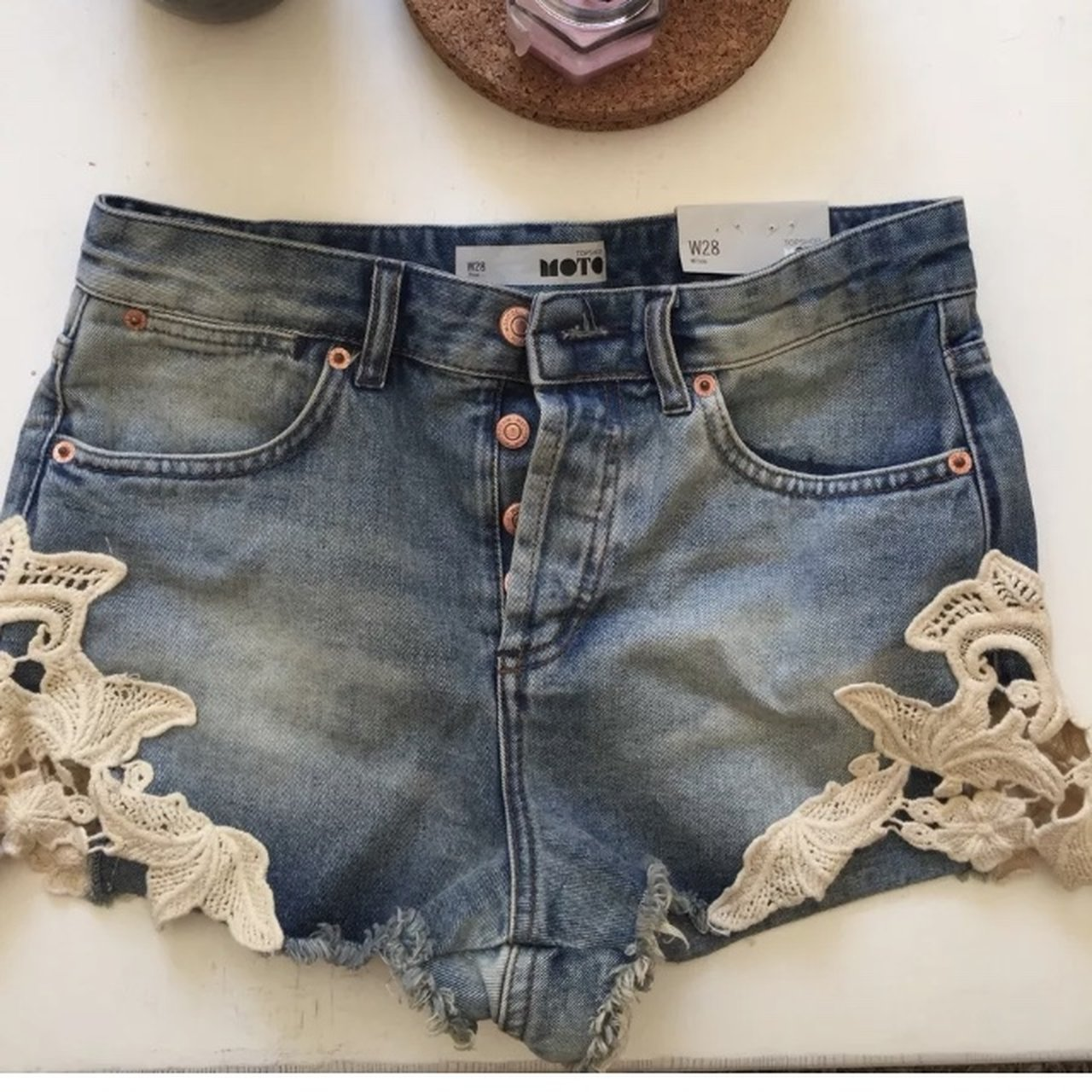 a975295fe6 Topshop denim shorts with lace detail brand new come up a 10 - Depop