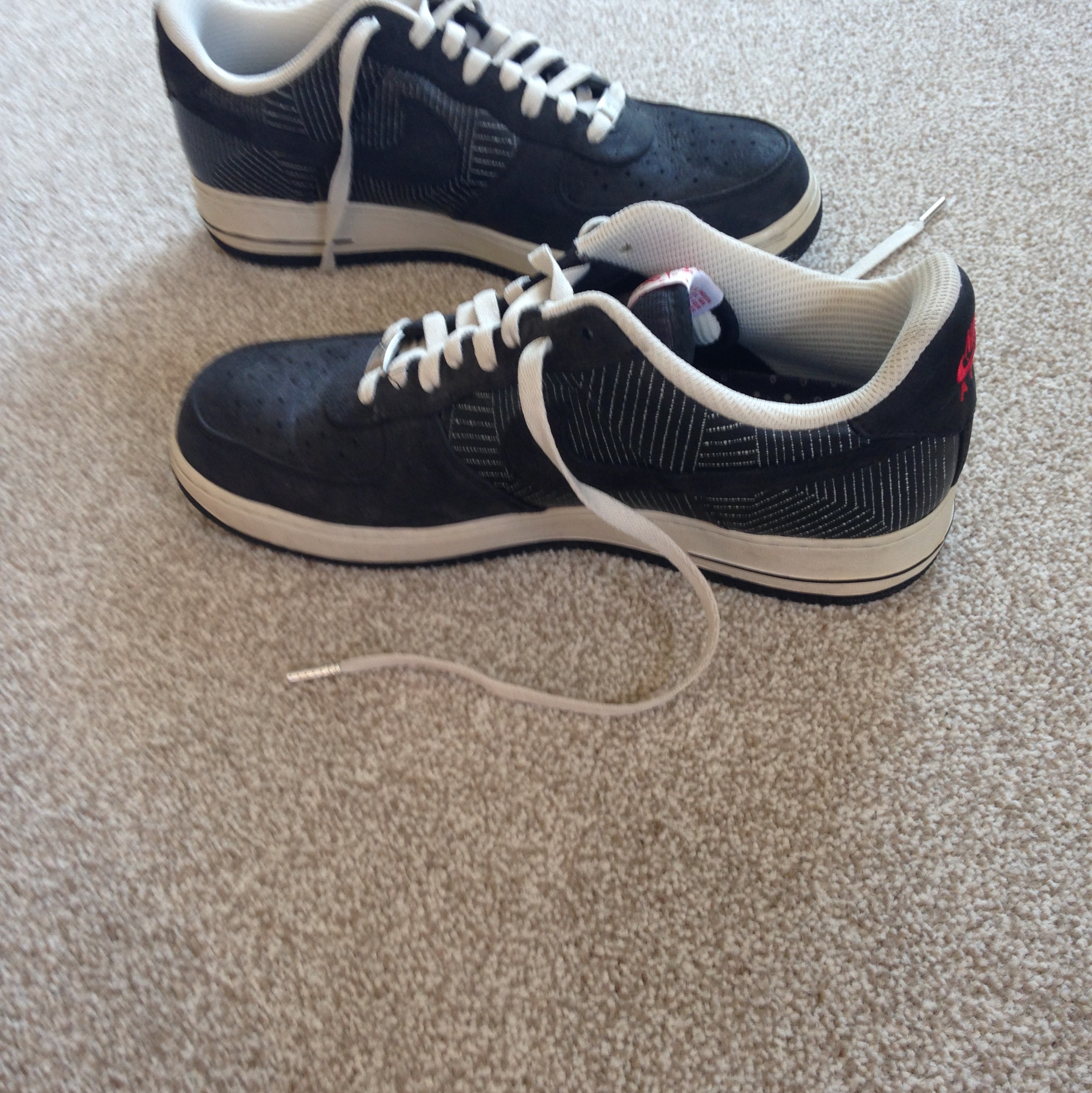 Nike Air Force 1 Black White Red Partly Suede These Depop