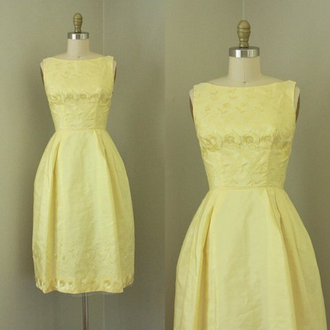 fafd1de69178 @someplacesunnier. last year. Memphis, United States. This lovely 1950's  butter yellow cocktail dress features ...