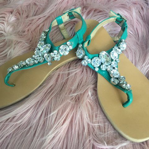 a28ee1ad8 Teal blinged out sandals that have been worn once. They re a - Depop