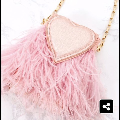 Pink heart fur bag with gold chain from pretty little thing - Depop 1ffd85b7ae2fc