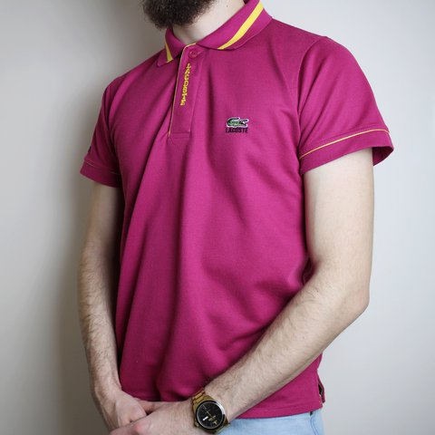 c67697be8 Vintage Lacoste 90 s Spellout Pink Polo Top Chest gator logo - Depop