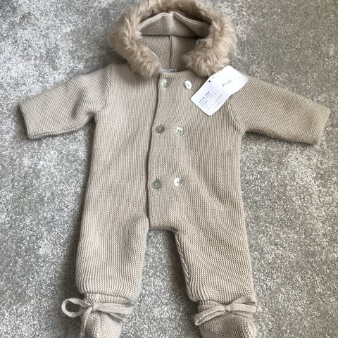 142128c2a Spanish Mebi baby unisex knitted pramsuit snowsuit all in 1 - Depop