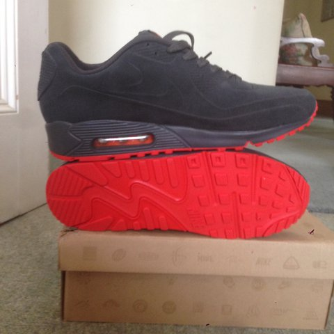 8af51df5e7f1 ... closeout brand new nike air max 90 hyperfuse suede grey red vt uk 10  depop 9cd88