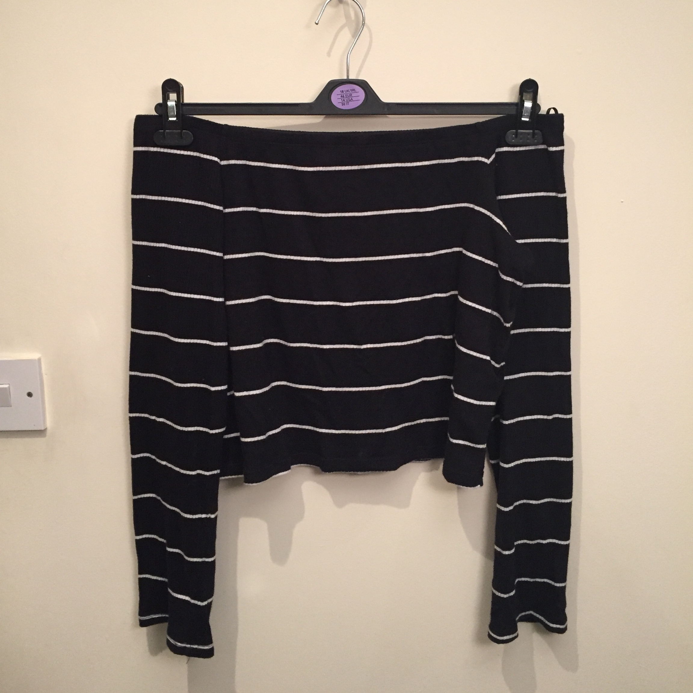 aae6a475991a41 Postage included H&M Striped Bardot top Size: