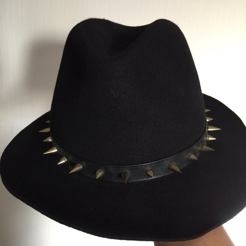 12979ee6 @ivaniab7. 2 years ago. London, UK. Fedora Zara Hat with golden spikes. Worn  once