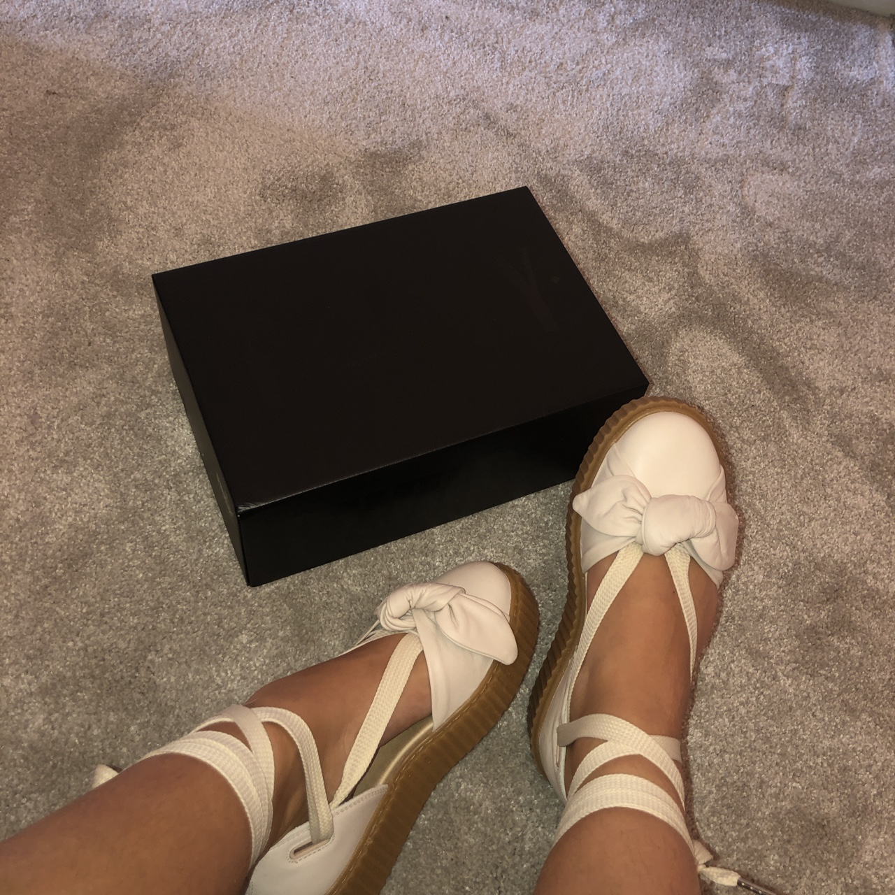 first rate 67508 277f3 Fenty puma, bow creeper ballet lace cream sandal,... - Depop