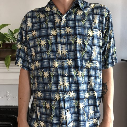 ba7433cbc6a3e Vintage Palm Tree Button Up No size tag but fits like a Dad - Depop