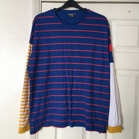 0263ebf032 @amyh1404. 9 months ago. Brighton, United Kingdom. Funky Oversized  Multicolour Mix-Match Striped T Shirt - blue, red, white, yellow - ASOS