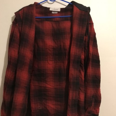 8ce67c616b COMFY urban outfitters zip-up sweater!! nice red plaid and a - Depop